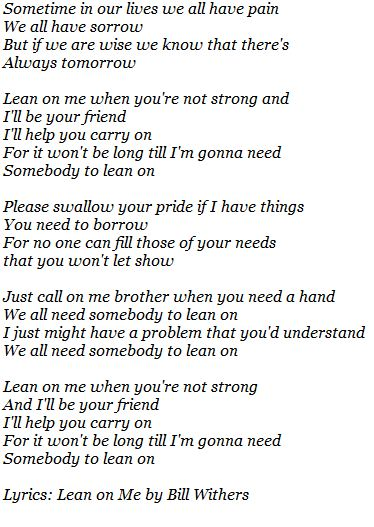 Lean On Me Notes From Africa