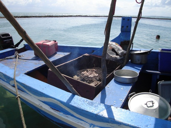 Chicken on the braai on a dhow off the Mozambique coast. ©Theo van Zyl