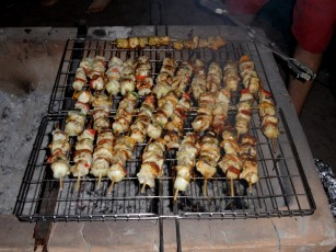 Couta (fish) sosaties being grilled on the fire ©Theo van Zyl