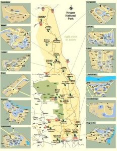 Map of Kruger National Park camps. This map can be downloaded from the Siyabona Africa site here.